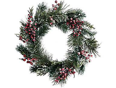 """27"""" Iced Pine & Berry Wreath, , large"""