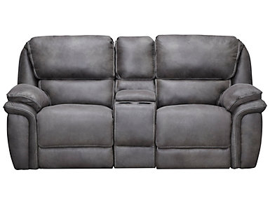 Ero Grey Manual Reclining Console Loveseat, , large