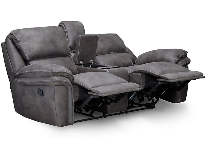 Ero Reclining Console Loveseat, Grey, , large
