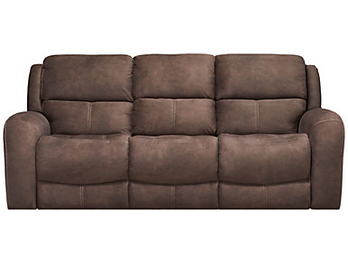 Gibson Manual Reclining Sofa with Drop Down Table, Brown, , large