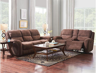 Gibson Brown Manual Reclining Console Loveseat, , large