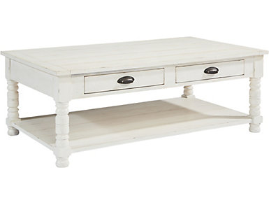 Bobbin Rectangular Coffee Table, White, , large