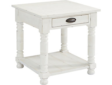 Bobbin Square End Table, White, , large
