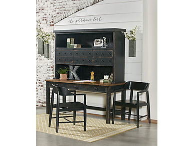 "Postman's 68"" Distressed Chimney Desk & Hutch, , large"
