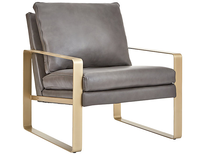 NB2 Leather Accent Chair, Grey, , large