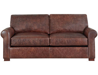 Milo Classic Brown Leather Apartment Sofa, Brown, , large