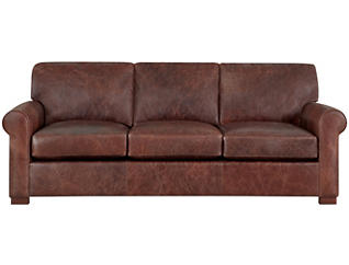 Milo Classic Brown Leather Sofa, Brown, , large