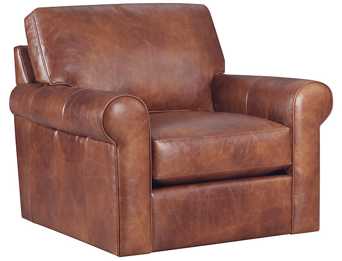 Milo Leather Swivel Chair, Classic Brown, , Large ...