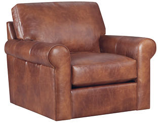 Milo Classic Brown Leather Swivel Chair, Brown, , large