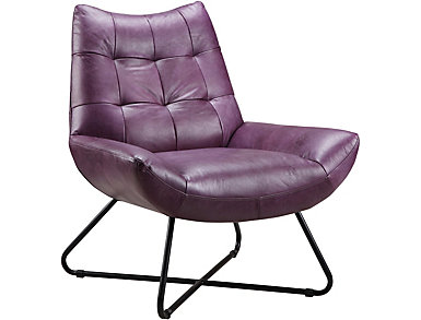 Romeo Purple Leather Chair, , large