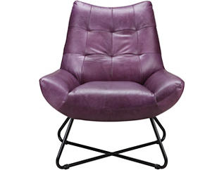Romeo Leather Chair, Purple, large