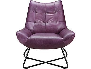Romeo Leather Chair, Purple, large