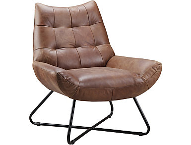 Romeo Brown Leather Chair, , large