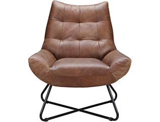 Romeo Leather Chair, Brown, large
