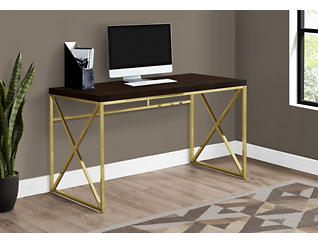 Clara Cappuccino & Gold Desk, , large
