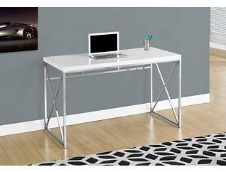 Clara White & Chrome Desk, , large