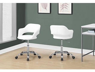 Modern White Desk Chair, , large