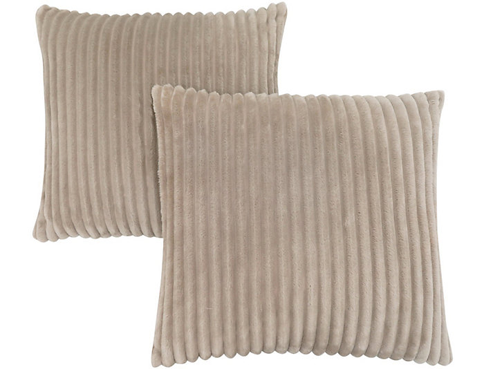Beige Faux Fur Pillow Set Of 2 Art Van Home