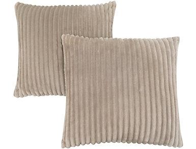 Beige Faux Fur Pillow Set of 2, , large