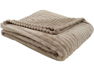 Faux Fur Ribbed Throw Beige, , large