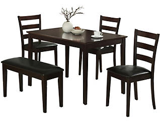 Faure Brown 5-Piece Dining Set, , large