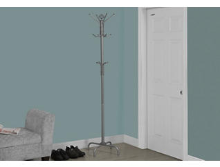 "Neptune 70"" Silver Coat Rack, Silver, large"