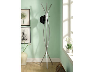 "Cosmo 72"" Silver Coat Rack, Silver, large"