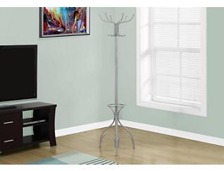 "Mars 70"" Silver Coat Rack, , large"