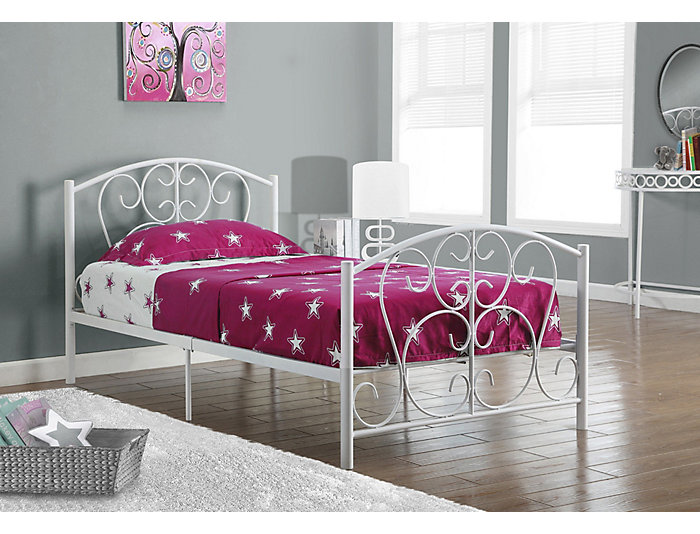 White Scrolled Twin Metal Bed, , large