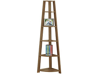 """Ron 72"""" Walnut Corner Bookcase, , large"""