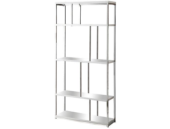 """Draco 72"""" White Bookcase, , large"""