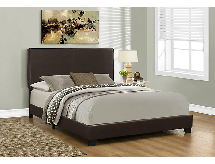 Dark Brown Queen Leather Bed, , large
