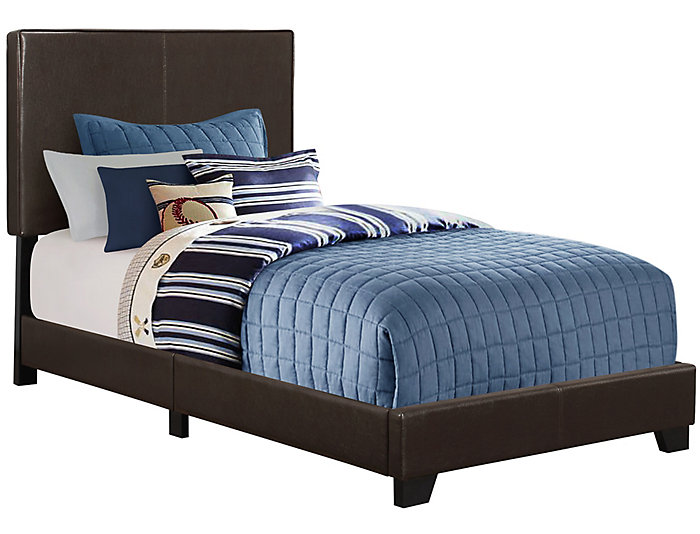 Dark Brown Twin Leather Bed, , large