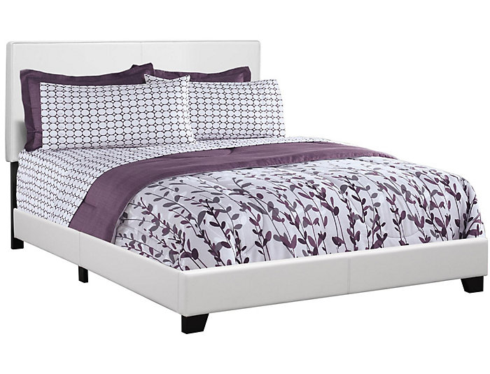 White Queen Leather-Look Bed, , large