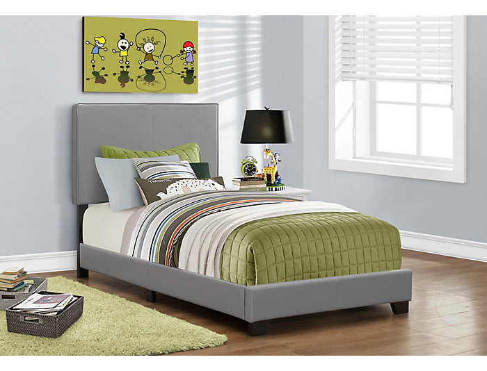 Grey Twin Leather-Look Bed, , large