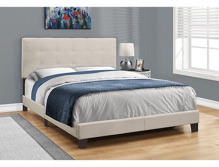 Beige Linen Queen Bed, , large