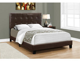 Full Dark Brown Leather Bed, , large