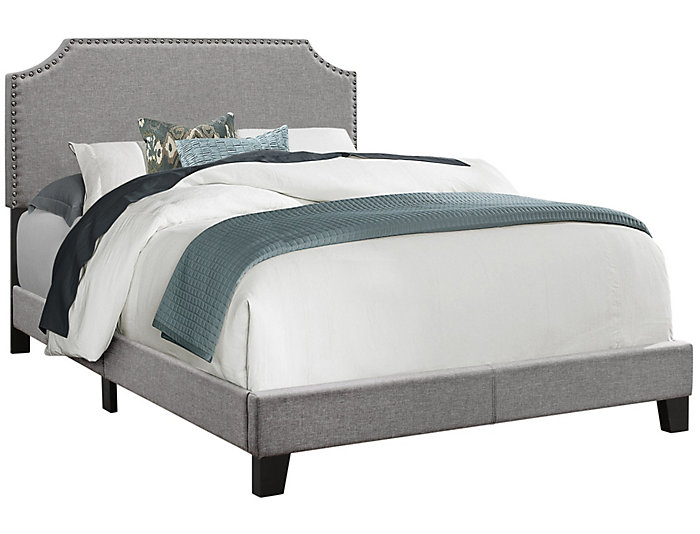 Full Grey Linen Bed, , large