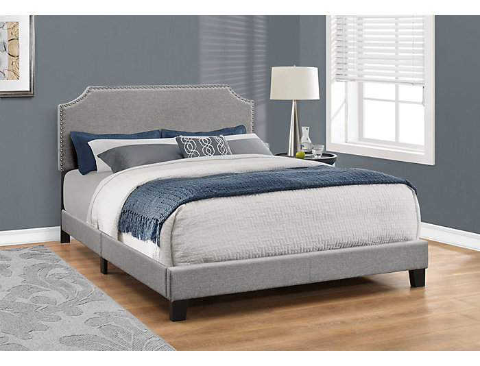 Grey Linen Queen Bed, , large