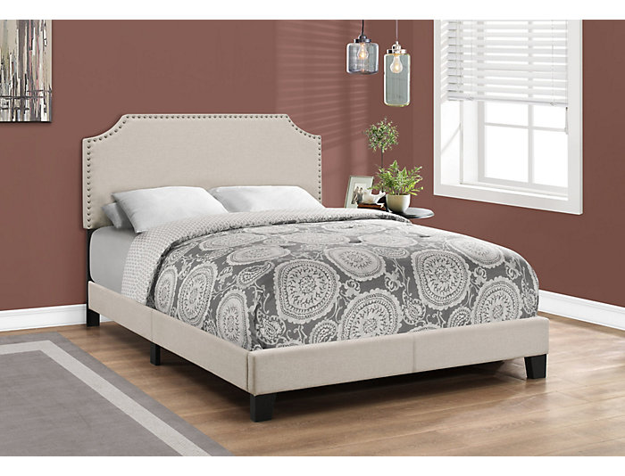 Full Beige Linen Bed, , large