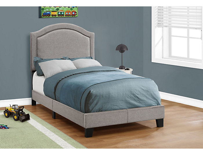 Grey Linen Twin Bed, , large