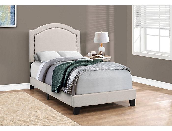 Beige Linen Twin Bed, , large