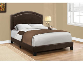 Faux Leather Brown Full Bed, , large
