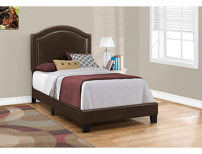 Brown Leather-Look Twin Bed, , large