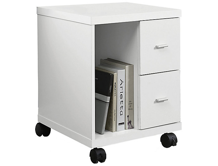 Luna White Filing Cabinet, , large