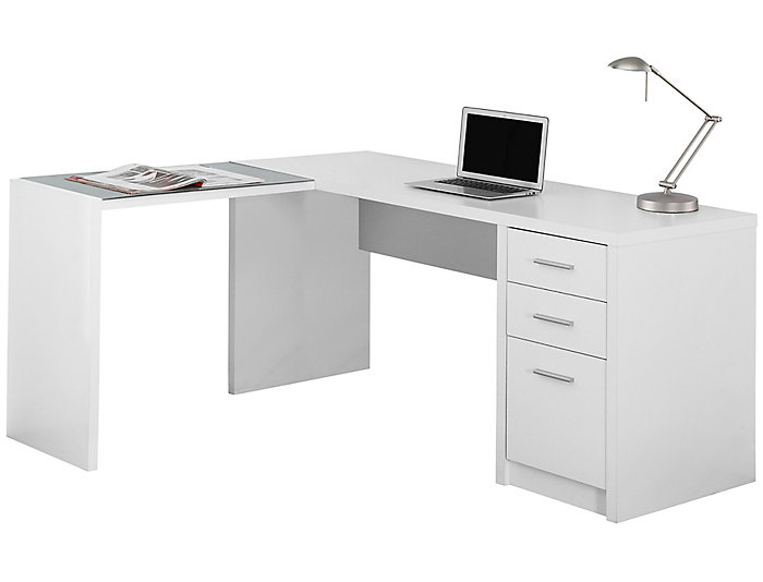 Ludo White Corner Desk, , large