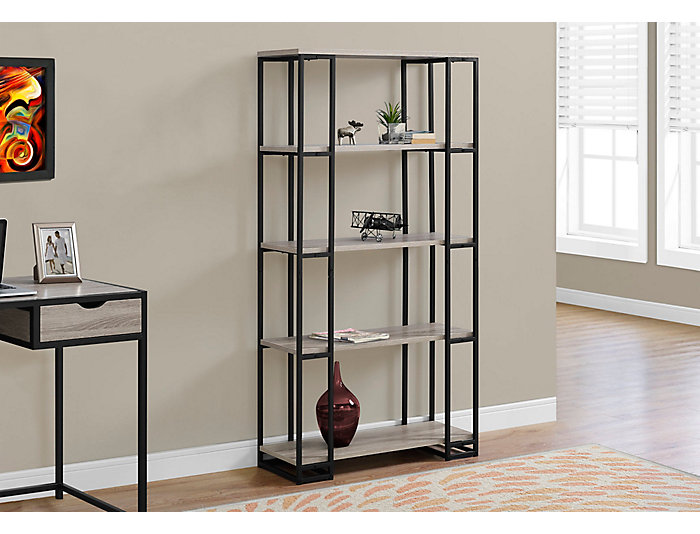 """Ginny 60"""" Taupe Bookcase, , large"""