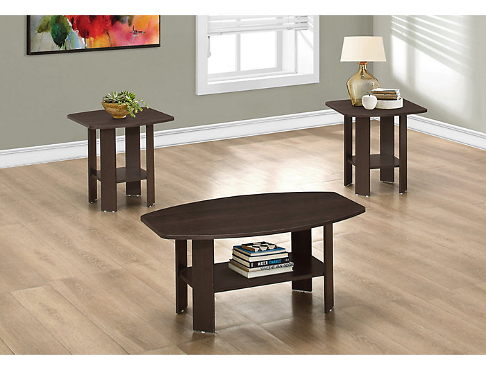 Miles 3 Piece Coffee Table Set, Brown, , large
