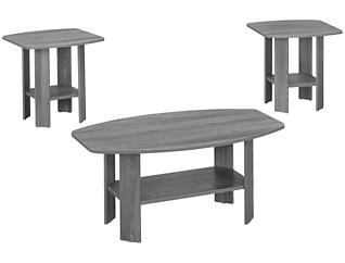 3 Piece Coffee Table Set, Grey, , large
