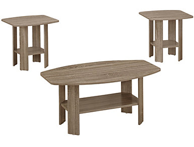 Miles 3 Piece Coffee Table Set, Taupe, , large